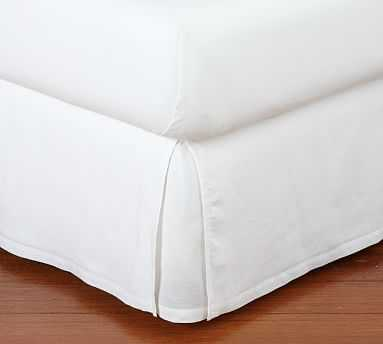 Belgian Linen Bed-Skirt, Full, White - Pottery Barn
