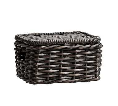 Aubrey Small Lidded Basket, Charcoal - Pottery Barn