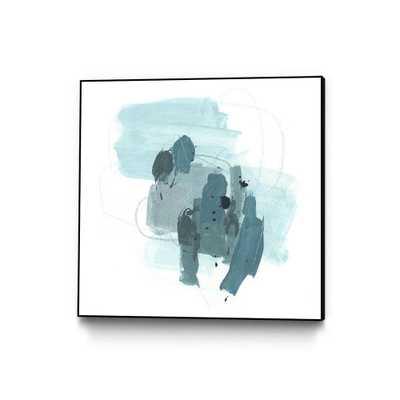 "CLICART 30 in. x 30 in. ""Aqua Stellar I"" by June Erica Vess Framed Wall Art, Blue - Home Depot"