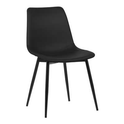 Monte Contemporary Dining Chair in Black Faux Leather with Black Powder Coated Metal Legs - Armen Living - Target