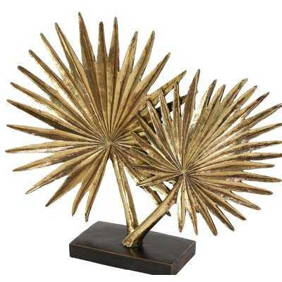 Avalos Large Metallic Fan Palm Leaf Sculpture Table Decor on Rectangular Stand Sculpture - Wayfair