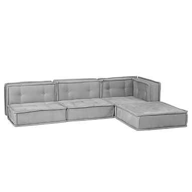 Cushy Lounge Super Sectional Set, Light Gray Faux-Suede, QS EXEL - Pottery Barn Teen