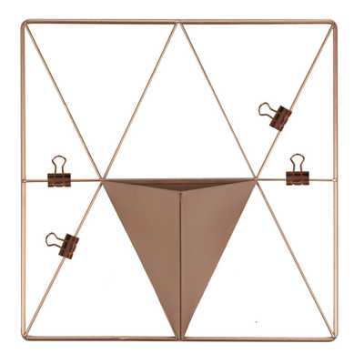 Rose Gold Triangle Metal Grid with Pocket Wall Organizer - Home Depot