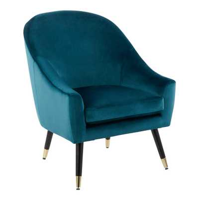 Matisse Teal (Teal) Velvet Accent Chair - Home Depot
