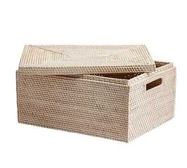 Tava Woven Lidded Basket, Medium, Whitewash - Pottery Barn