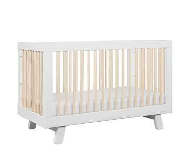 Babyletto Hudson 3-in-1 Crib, White/Washed Natural, Standard UPS Delivery - Pottery Barn Kids