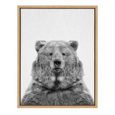 "Kate & Laurel 24""x18"" Sylvie European Bear And Portrait By Simon Te Tai Framed Wall Canvas Wood - Target"