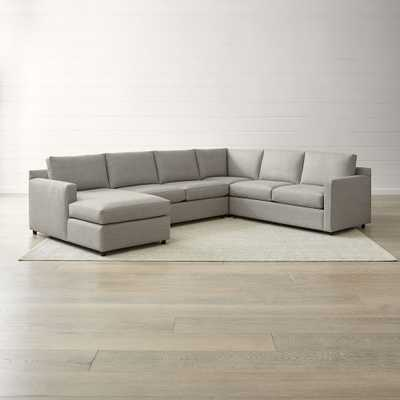 Barrett 4-Piece Left Arm Chaise Sectional- galaxy ash - Crate and Barrel