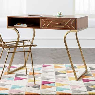 Kids Wood and Metal Inlay Desk - Crate and Barrel