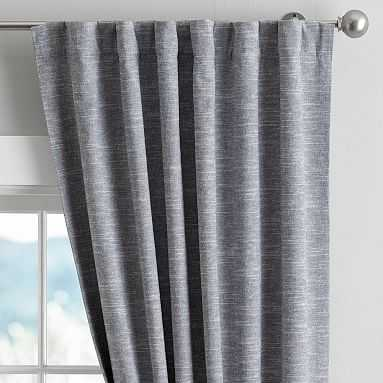 "Classic Linen Blackout Drape, 44"" X 63"", Navy/White Blend - Pottery Barn Teen"