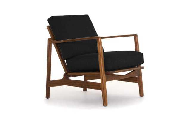 Black Graham Mid Century Modern Chair - Chance Charcoal - Walnut - Joybird