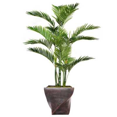Laura Ashley 57.5 in. Tall Palm Tree Artificial Decorative Faux with Burlap Kit and Fiberstone Planter - Home Depot