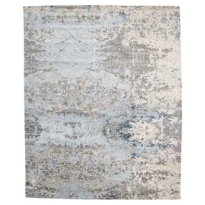 "Finley Modern Blue Wool Rug - 7'9"" x 9'9"" - Kathy Kuo Home"