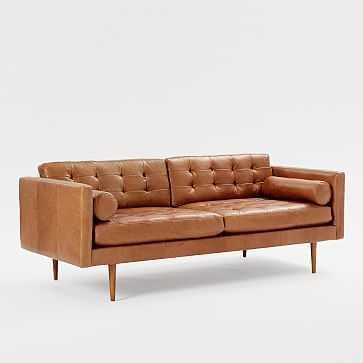 Monroe Mid-Century Sofa, Leather, Saddle - West Elm