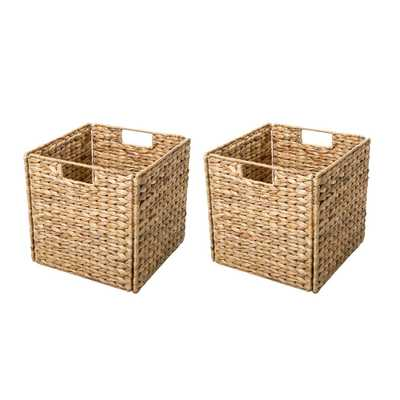 12 in. x 12 in. Foldable Hyacinth Storage Basket with Iron Wire Frame (2-Set), Tan - Home Depot