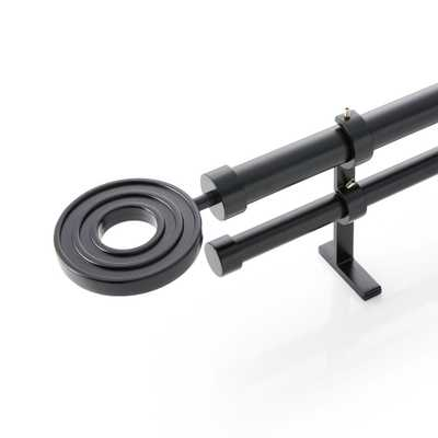 """CB Matte Black Metal Ring Finial and Double Curtain Rod Set 88""""-120"""" - Crate and Barrel"""