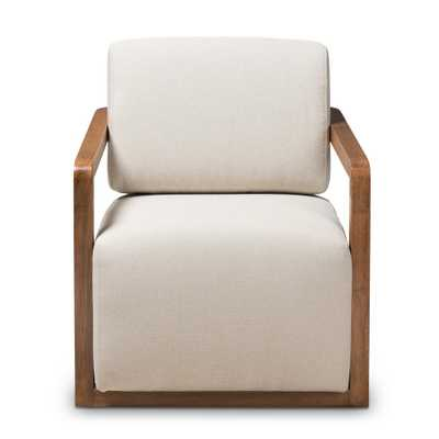 Sawyer Beige Fabric Arm Chair, Light Beige - Home Depot