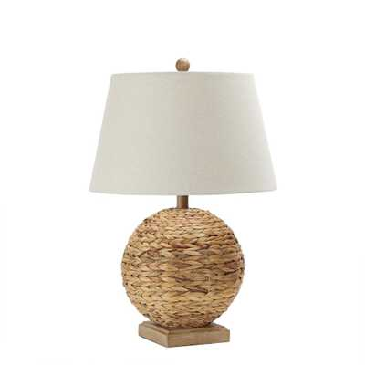 Silverwood Reao 24.5 in. Wood Rattan Brown Round Lamp with Lamp Shade - Home Depot
