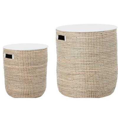Knap Round Seagrass 2 Piece Nesting Tables - Wayfair