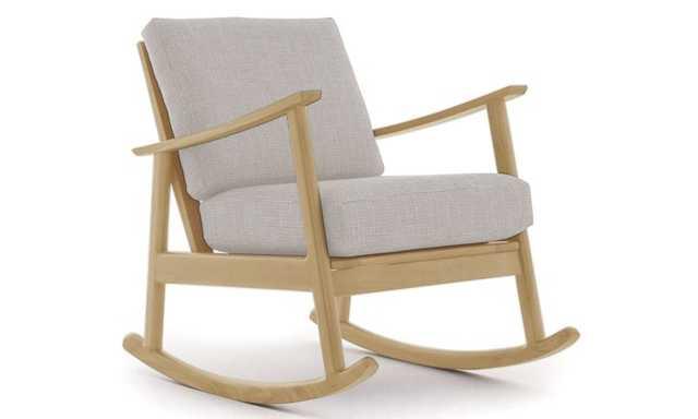 Beige Paley Mid Century Modern Rocking Chair - Prime Dove - Maple - Joybird