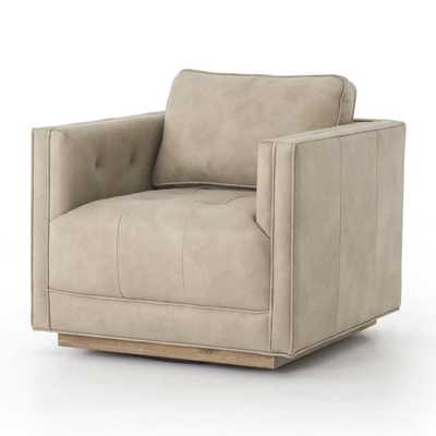 Kiera Natural Leather Swivel Chair - Crate and Barrel