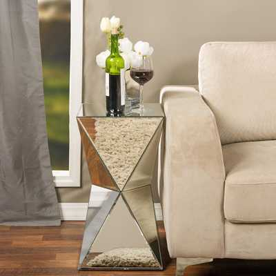 Rebecca Glam Silver Metallic Finished End Table - Home Depot