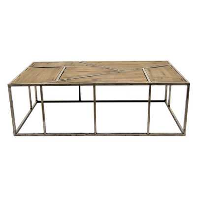 43.25 in. x 25.5 in. Brown Metal/Wood Coffee Table - Home Depot