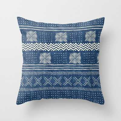 "Mud Cloth Geometric Stripe Navy Throw Pillow - Indoor Cover (18"" x 18"") with pillow insert by Beckybailey1 - Society6"