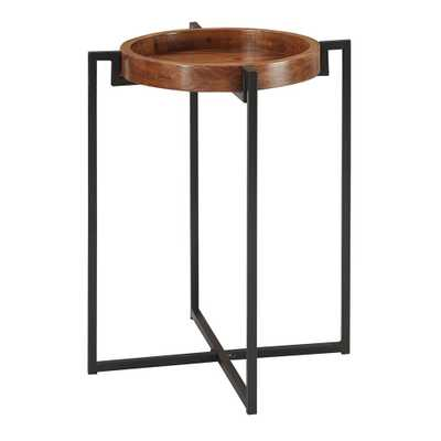 Convenience Concepts Nordic Dark Walnut and Black Round Tray End Table, Dark Walnut/Black - Home Depot