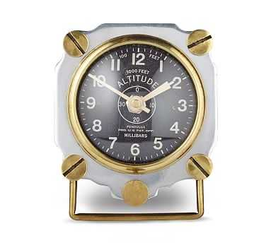 Altimeter Table Clock, Aluminum - Pottery Barn