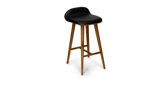 Sede Black Leather Walnut Counter Stool - Article