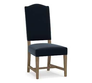 Ashton Upholstered Non-Tufted Dining Side Chair, Performance Plush Velvet Navy - Pottery Barn