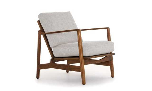 Graham Mid Century Modern Chair - Prime Dove - Walnut - Joybird