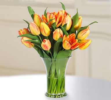 Faux Tulip in Glass Vase - Yellow/Orange - Pottery Barn