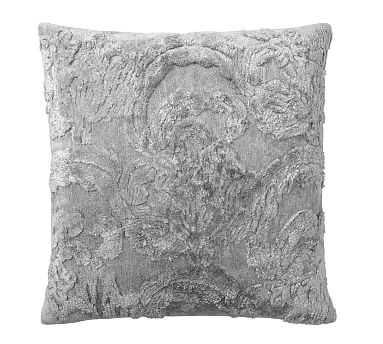 "Natalia Silk Jacquard Pillow Cover, 22"", Alloy - Pottery Barn"