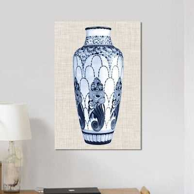 'Blue & White Vase I' Graphic Art Print on Canvas - Wayfair