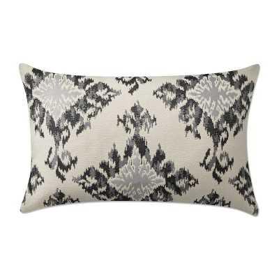 "Tiana Medallion Ikat Jacquard Lumbar Pillow Cover, 14"" X 22"", Black - Williams Sonoma"