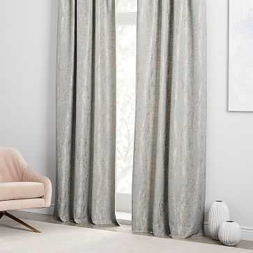 "Bark Texture Jacquard Curtain, Dusty Blue, 48""x108"" - West Elm"