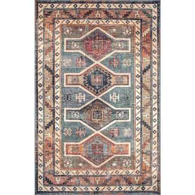 Traditional Monica Tribal Blue 7 ft. 10 in. x 11 ft. 2 in. Area Rug - Home Depot