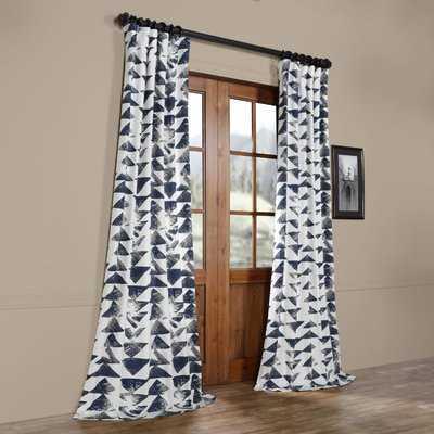 Spray Printed Cotton Twill Geometric Rod Pocket Single Curtain Panel - Birch Lane