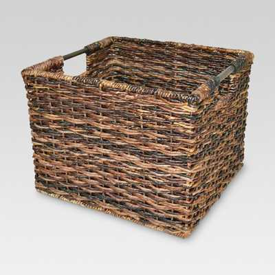 "11""x13"" Wicker Large Milk Crate Dark Brown - Threshold - Target"