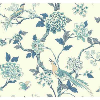Ashford Toiles Fanciful Wallpaper, Blue/White/Beige - Home Depot
