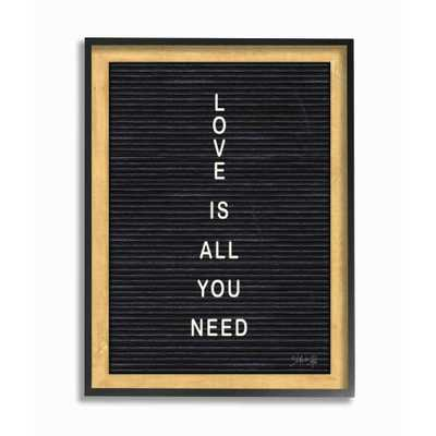 """The Stupell Home Decor Collection 16 in. x 20 in.""""Love is All You Need Black and White Black Framed Letter Board Look Black Framed Wall Art"""" by Marla Rae, Multi-Colored - Home Depot"""