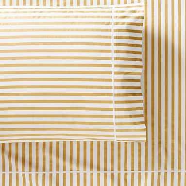 The Emily & Meritt Skinny Stripe Sheet Set, Queen, Gold - Pottery Barn Teen