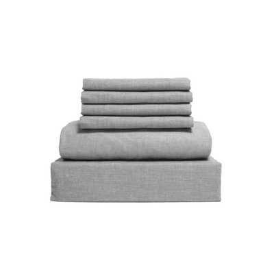 Chambray 6-Piece Gray Cotton/Polyester Queen Sheet Set - Home Depot