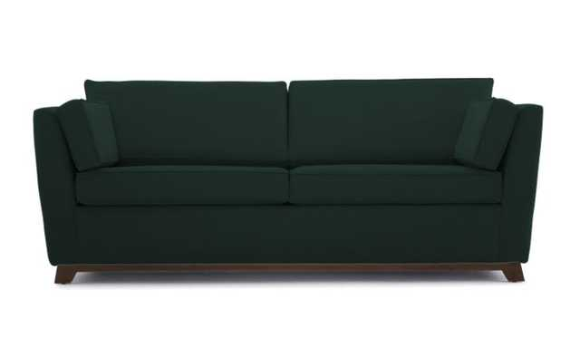 Green Roller Mid Century Modern Sleeper Sofa - Royale Evergreen - Coffee Bean - Joybird