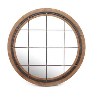 "32"" Metal and Wood Caged Round Mirror - Home Depot"