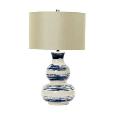 Fangio Lighting m.r. Lamp and Shade's 28 in. White Striped Ceramic Table Lamp with Navy Brushstrokes - Home Depot