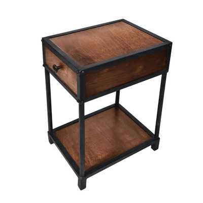 The Urban Port Brown and Black Metal Framed Mango Wood End Table with Drawer and Open Base - Home Depot