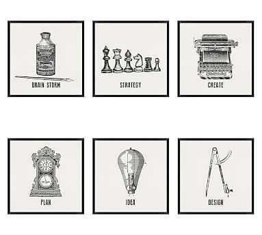 """Vintage Office Icons Framed Prints, Set of 6, 20 x 20"""" - Pottery Barn"""